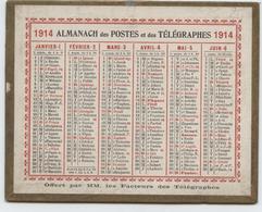 Almanach Des Postes, Guerre De 14, 2 Calendriers, 1914 Et 1918, Petit Format, 12,5 X 10 - Calendars