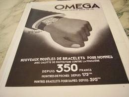ANCIENNE PUBLICITE L HEURE EXACTE MONTRE OMEGA 1935 - Joyas & Relojería