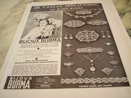 ANCIENNE PUBLICITE SENSATIONNEL BIJOUX  BURMA 1935 - Bijoux & Horlogerie