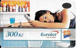 -CARTE-PREPAYEE-GSM-TCHEQUIE-300Kc-EUROTEL-GO/FEMME-Gratté-BE/RARE - Tchéquie