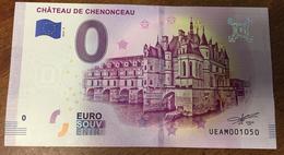 37 CHÂTEAU DE CHENONCEAU BILLET 0 EURO SOUVENIR 2019 BANKNOTE BANK NOTE 0 EURO SCHEIN PAPER MONEY - EURO