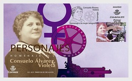 H01 Spain 2019 Consuelo Álvarez - Violeta - Tribute To Telegraphist Women FDC - 1931-Today: 2nd Rep - ... Juan Carlos I