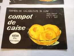 ROMANIA-COMPOTE D'ABRICOT/ COMPOTE APRICOT-LABEL ,COMMUNIST PERIOD - Frutta E Verdura
