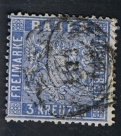 1861 6. Aug. Wappen Mi DE-BAD 10b Sn DE-BAD 12 Yt DE-BAD 10 Sg DE-BAD 16 AFA DE-BAD 10 Gut Gestempelt O - Baden