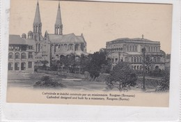 CATHEDRALE ET EVECHE CONSTRUITS PAR UN MISSIONNAIRE, RANGOON, BIRMANIE BURMA. CPA CIRCA 1920s - BLEUP - Myanmar (Burma)