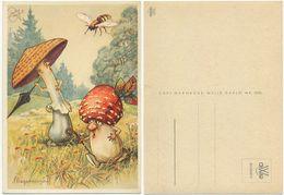 AK Pilze Vermenschlicht, Fliegerangriff, Fliege, Künstler AK Heinz Geilfus - Mushrooms