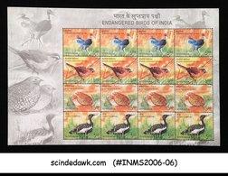 INDIA - 2006 ENDANGERED BIRDS OF INDIA - SHEETLET MNH - India