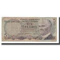 Billet, Turquie, 5 Lira, L.1930, KM:179, B+ - Turquie