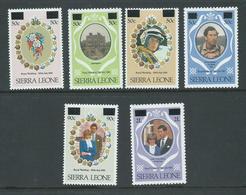 Sierra Leone 1982 Surcharges On Royal Wedding Set Of 6 MLH - Sierra Leone (1961-...)