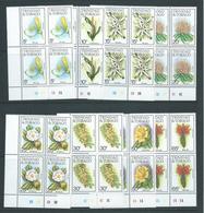 Trinidad & Tobago 1983 Flower Definitives Set 16 Plate Number Blocks Of 4 MNH - Trinidad & Tobago (1962-...)