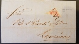 O) 1874 VENEZUELA, BISECT ARMS SCT 20 1r, TO CARACAS,  XF - Venezuela