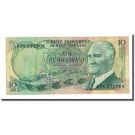 Billet, Turquie, 10 Lira, L.1970, KM:186, TTB - Turchia