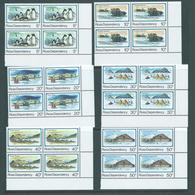 Ross Dependency 1982 Scott Base Anniversary Set 6 Matched Marginal Corner Blocks Of 4 MNH - Unused Stamps