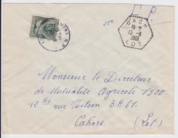 LOT ENV 1961 BACH AGENCE POSTALE EN FP REFUSE => TAXE CAHORS LOT - Poststempel (Briefe)