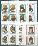 Lesotho 1981 Christmas Rockwell Paintings Set 6 Plate Number Blocks Of 4 MNH - Lesotho (1966-...)