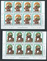 Lesotho 1981 Christmas Rockwell Paintings Set 6 Imprint & Plate Number Blocks Of 8 MNH - Lesotho (1966-...)