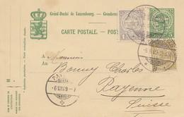 Luxemburg: 1909 Ganzsache In Die Schweiz - Luxemburg