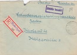 1948: Einschreiben Radolfzell, Gebühr Bezahlt Nach Karlsruhe - Allemagne