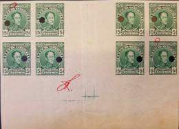 O) 1915 VENEZUELA, PUNCH PROOF, SIMON BOLIVAR 5c Green, XF - Venezuela