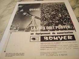 ANCIENNE PUBLICITE EQUIPEMENT DE SONORISATION BOUYER MONTAUBAN 1964 - Music & Instruments