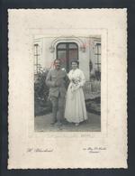 MILITARIA PHOTO 10X14,5 MILITAIRE SOLDAT FRADIN ALNET 35e SON EPOUSE PHOTO H BLANCHAUD SAUMUR : - Guerre, Militaire