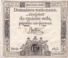 France - Assignat De 15 Sols - 24 Octobre 1792 - Série 1893 - Signature Buttin - Assignats