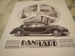 ANCIENNE PUBLICITE PANORAMIQUE VOITURE PANHARD  1935 - Voitures