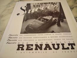 ANCIENNE PUBLICITE SUCCES VOITURE  RENAULT 1935 - Voitures