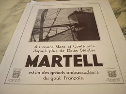 ANCIENNE PUBLICITE A TRAVERS MERS COGNAC  MARTELL 1964 - Alcools