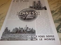 ANCIENNE PUBLICITE DANS LE MONDE COGNAC HENNESSY 1935 - Alcools