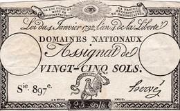 France - Assignat De 25 Sols - 4 Janvier 1792 - Série 897 - Signature Hervé - Assignate