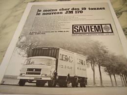 ANCIENNE PUBLICITE LE MOINS CHER CAMION SAVIEM  RENAULT 1964 - Trucks