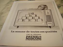 ANCIENNE PUBLICITE TELEVISION  PATHE MARCONI 1964 - Musik & Instrumente