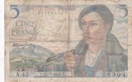 France - Billet De 5 Francs Type Berger - 22 Juillet 1943 - 1871-1952 Circulated During XXth