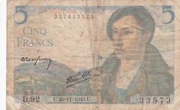 France - Billet De 5 Francs Type Berger - 25 Novembre 1943 - 1871-1952 Frühe Francs Des 20. Jh.