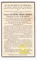 DP Victorine M. Gernay ° Rumillies Doornik Tournai 1870 † Meulebeke 1935 X Jules Dewitte - Images Religieuses