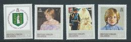British Virgin Islands 1982 Princess Diana 21st Birthday Set 4 MNH - British Virgin Islands