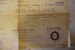Plan Du Modèle Réduit Du Roseline Maquette Au 1/100 Navire De Charge à Un Pont - Dimensions 1,10 X 0,74 M. - Technical Plans