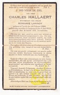 DP Charles Hallaert ° Vinkt Deinze 1868 † Langemark 1933 X Romanie Lannoy - Devotieprenten