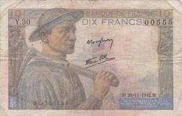 France - Billet De 10 Francs Type Mineur - 26 Novembre 1942 - 10 F 1941-1949 ''Mineur''