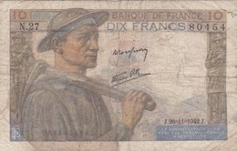 France - Billet De 10 Francs Type Mineur - 26 Novembre 1942 - 1871-1952 Circulated During XXth