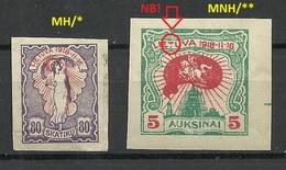 LITAUEN Lithuania 1921 Michel 72 & 75 B MNH/MH Incl Printing ERROR Variety Abart - Lituanie