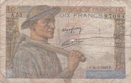France - Billet De 10 Francs Type Mineur - 25 Mars 1943 - 1871-1952 Anciens Francs Circulés Au XXème