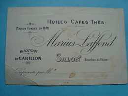 13 - Salon De Provence - Carte D'un Représentant En Cafés, Thés, Huiles Et Savon - Salon De Provence