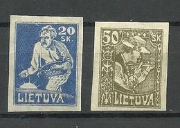 LITAUEN Lithuania 1921 Michel 89 B & 92 B * - Lituanie