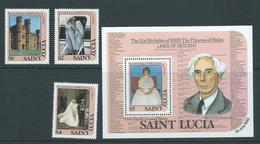 St Lucia 1982 Princess Diana 21st Birthday Set 3 & Miniature Sheet MNH - St.Lucia (1979-...)