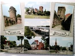 Zons Am Rhein. Alte Mehrbild AK Farbig. Mühlenturm, Rheinfront, Rheinturm, Freilichtbühne, Rheintor, Pfarrkirc - Ansichtskarten