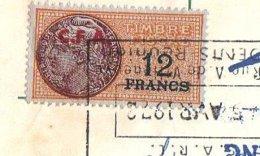 FISCAUX  LA REUNION   12 F Papier Violet, Surcharge CFA Rouge Sur Traite  AH-SING , SAINT DENIS - Fiscales
