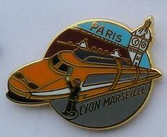 T83 Pin's TGV  ORANGE SNCF LYON MARSEILLE  Qualité Arthus Signé BALLARD Achat Immediat - TGV