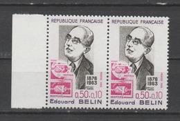 """FRANCE / 1972 / Y&T N° 1708 ** : """"Célébrités"""" (Edouard Belin) X 2 En Paire Dont 1 BdF - Gomme D'origine Intacte - Ungebraucht"""